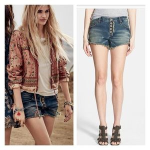 EUC Free People Distressed Button Light wash Short